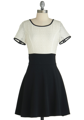 Grand Hall Dress - Mid-length, Black, Party, Twofer, Short Sleeves, White, Cutout, Lace, Exclusives, Cocktail, Sheer, Mod, Tis the Season Sale