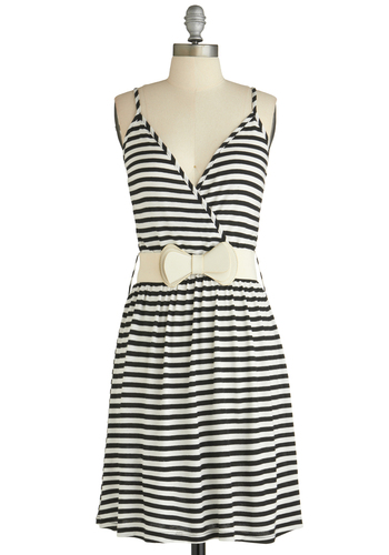 Good Feeling Dress - Short, Black, White, Stripes, Casual, A-line, Spaghetti Straps, Summer, Belted, Bows, Jersey, Tis the Season Sale