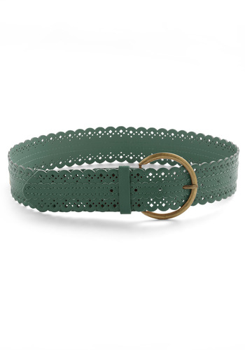 Scallop to Speed Belt in Green - Green, Solid, Cutout, Scallops, Casual, Boho, Faux Leather