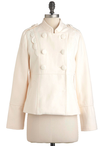 Salute to Splendid Coat by Yumi - Cream, Solid, Buttons, Pockets, Scallops, Long Sleeve, Fall, Mid-length, Holiday Party, Double Breasted, 3