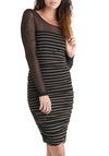 Shadow Re Mi Dress by Jack by BB Dakota - Mid-length, Black, Gold, Stripes, Party, Long Sleeve, Sheer, Bodycon / Bandage, Pinup, Vintage Inspired, Girls Night Out