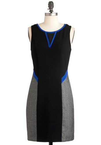 Sheath Loves Me Dress - Mid-length, Black, Blue, Grey, Work, Shift, Sleeveless, 80s, Bodycon / Bandage, Colorblocking