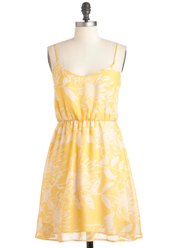 Meringue or Shine Dress - Mid-length, Yellow, White, Casual, A-line, Spaghetti Straps, Summer, Floral, Pastel