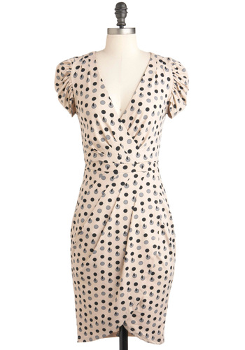 Disc is the Life Dress - Long, Cream, Black, Grey, Print, Pleats, Work, Sheath / Shift, Short Sleeves, Pinup, Polka Dots