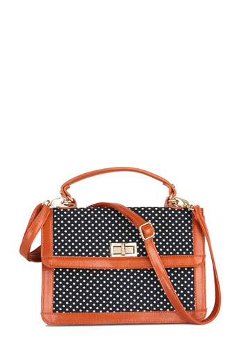 On the Polka Dot Bag - Blue, White, Polka Dots, Work, Vintage Inspired, Brown, Scholastic/Collegiate, Faux Leather