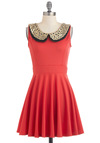 Two Happy Hearts Dress - Orange, Black, Gold, Eyelet, Party, Short, A-line, Sleeveless, Peter Pan Collar, Coral, Collared, Fit & Flare, Variation