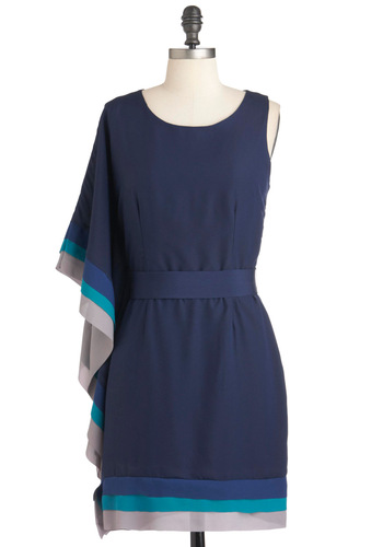 With the Mostess Dress - Mid-length, Blue, Grey, Solid, Party, Shift, One Shoulder, Belted
