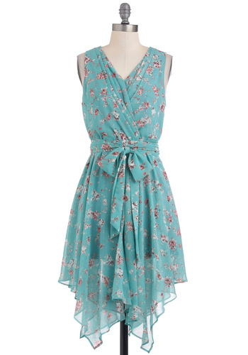 Trail of Flowers Dress - Mid-length, Multi, Floral, Backless, A-line, Sleeveless, Fairytale, Belted, V Neck, Blue, Daytime Party, Beach/Resort