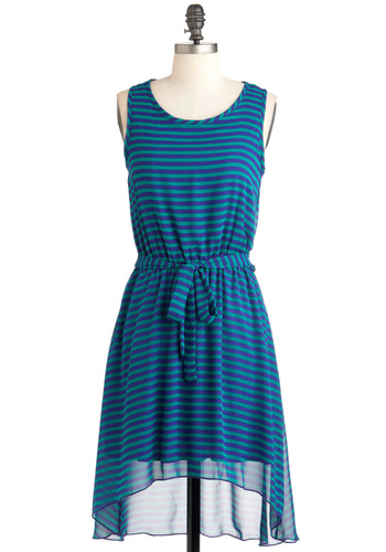 Pleased to Meet Eucalyptus Dress - Mid-length, Green, Blue, Stripes, Casual, A-line, Tank top (2 thick straps), Summer, Belted, Sheer, High-Low Hem, Tis the Season Sale