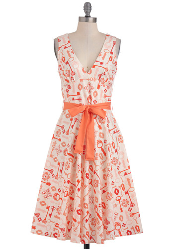 Unlock Your Potential Dress - Orange, Tan / Cream, Party, A-line, Sleeveless, Belted, Long, Vintage Inspired, Statement, Cotton, Fit & Flare, V Neck