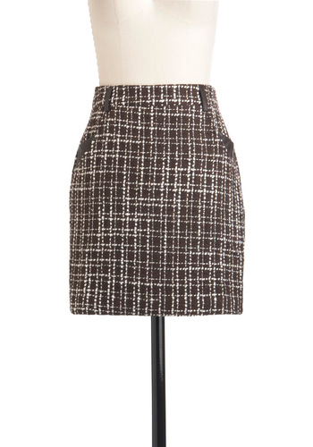 My Morning Coffee Skirt - Short, Brown, White, Pockets, Work, Menswear Inspired, Fall
