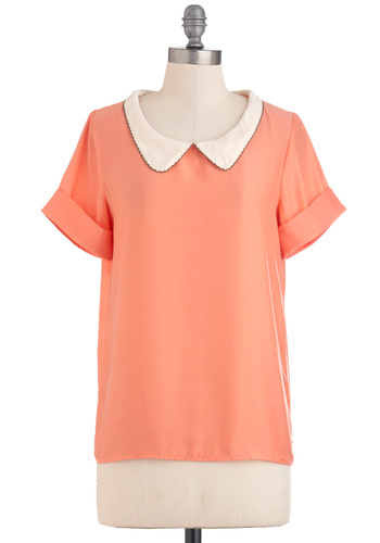Peachtree City Top - Tan / Cream, Solid, Peter Pan Collar, Short Sleeves, Mid-length, Work, Coral, Vintage Inspired, Collared, Orange, Short Sleeve, Pastel