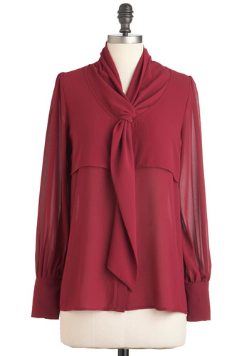 Prepare to Bordeaux Top - Mid-length, Red, Solid, Buttons, Party, Work, Long Sleeve, Tie Neck, Sheer