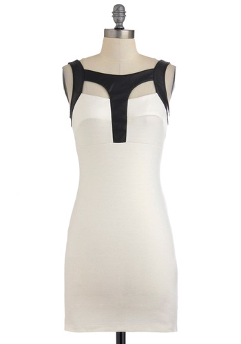 Touch of Contrast Dress - Black, Cutout, Party, Sleeveless, Girls Night Out, Bodycon / Bandage, Short, White, Exposed zipper, Urban