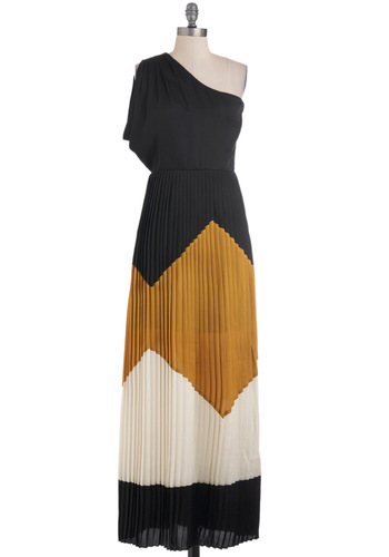 Black Hills Bold Dress - Long, Multi, Brown, Tan / Cream, Black, Pleats, Party, Maxi, One Shoulder, Fall, Colorblocking, 20s, Beach/Resort