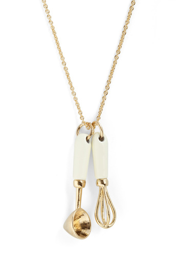 Ten Out of Utensils Necklace - White, Gold, Solid, Casual, Kawaii, Charm, Gold