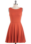 Tangerine Martini Dress - Orange, Solid, Cutout, Casual, A-line, Sleeveless, Mid-length, Fit & Flare