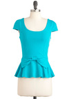 Happily Ever Afternoon Top - Mid-length, Blue, Solid, Bows, Casual, Cap Sleeves, Peplum, Cotton