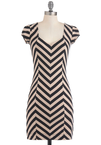 Sudden Celebration Dress - Short, Tan / Cream, Black, Stripes, Backless, Party, Shift, Cap Sleeves, Girls Night Out, Bodycon / Bandage, Holiday Sale, Scoop, Chevron