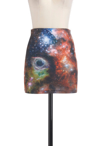That's My Galaxy Skirt - Multi, Mini, Short, Multi, Print, Girls Night Out, Bodycon / Bandage, Quirky