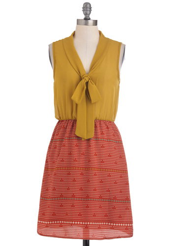 Pinball Champ Dress - Print, Sleeveless, Tie Neck, Mid-length, Orange, Yellow, Casual, Twofer
