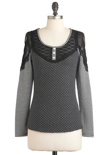 All That and Amore Top - Black, White, Polka Dots, Stripes, Lace, Long Sleeve, Mid-length, Casual, Film Noir, French / Victorian