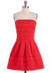 Love Note Dress - Red, Solid, Pleats, Scallops, Wedding, Party, Strapless, Mid-length, Summer, Fit & Flare, Bodycon / Bandage