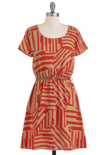 Light and Shadow Dress - Red, Tan / Cream, Print, Casual, A-line, Short Sleeves, Belted, Mid-length