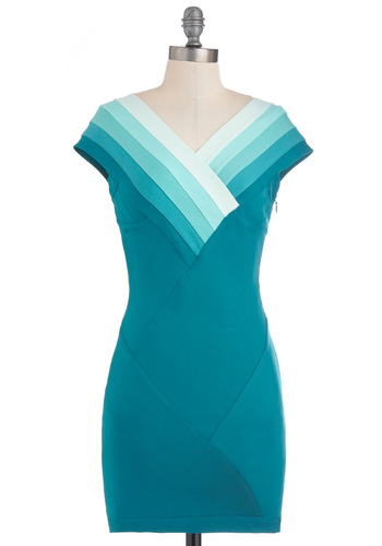 Dew You Wanna Dance? Dress - Blue, Green, White, Party, Short, Bodycon / Bandage, Cap Sleeves, Girls Night Out, V Neck