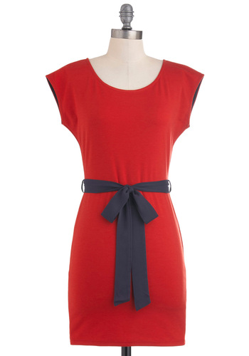 Cocktail Casual Dress - Red, Black, Solid, Casual, Shift, Sleeveless, Belted, Short