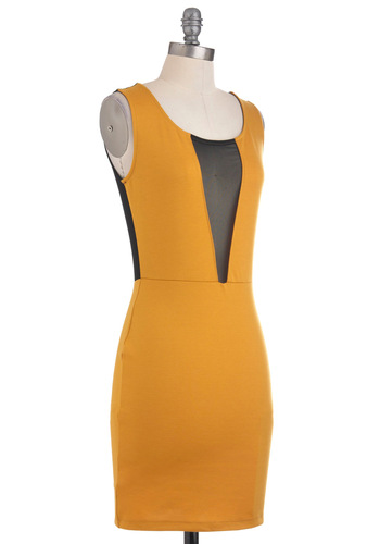 Dare to Be Bold Dress - Black, Party, Mini, Sleeveless, Short, Yellow, Sheath / Shift, Girls Night Out, Bodycon / Bandage, Sheer