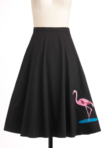 Flock Hop Skirt - Black, Blue, Pink, Print with Animals, A-line, Long, Vintage Inspired, 50s, Work, Casual