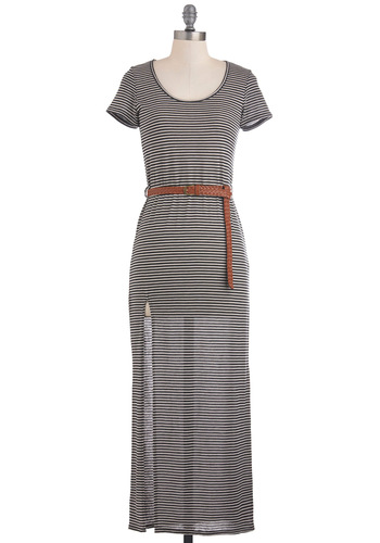 Linear Equation Dress - Black, White, Stripes, Casual, Maxi, Short Sleeves, Summer, Belted, Long, Sheer