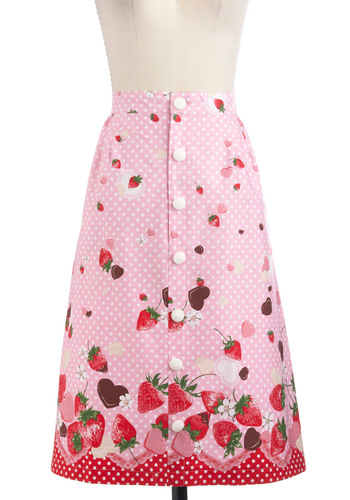 Confect the Dots Skirt - Pink, White, Polka Dots, Buttons, A-line, Fruits, Long, Casual, Vintage Inspired