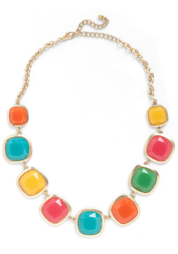 Cast But Not Least Necklace - Multi, Gold, 80s, Statement