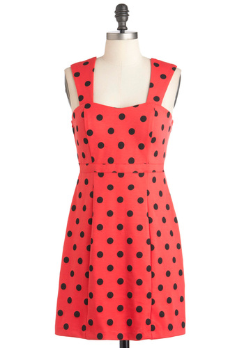 Poppy Chart Hit Dress in Dots - Red, Black, Polka Dots, Party, Shift, Sleeveless, Short, Vintage Inspired, Sweetheart