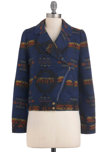 Sari Home Companion Jacket - Blue, Multi, Print, Exposed zipper, Pockets, Casual, Long Sleeve, Short, Vintage Inspired, Folk Art, Rustic, 2, Tis the Season Sale