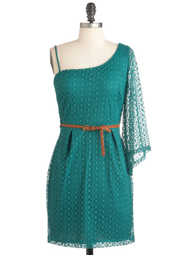 Teal Summer's End Dress - Green, Crochet, Party, Casual, A-line, Long Sleeve, One Shoulder, Short, Belted, Sheer