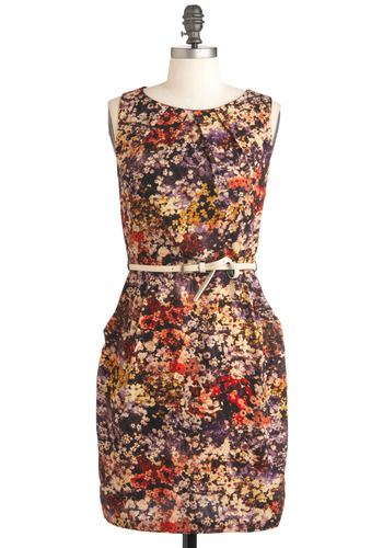 Wildflower About You Dress - Multi, Floral, Party, Shift, Sleeveless, Belted, Mid-length