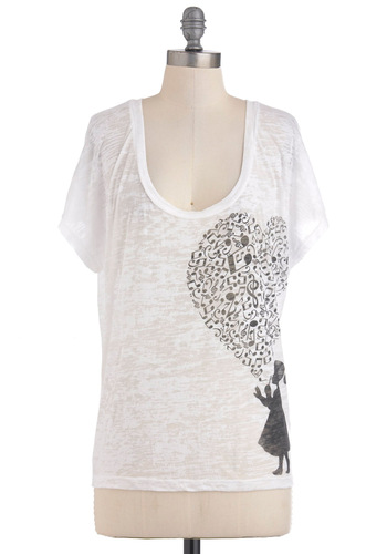 Heart Work and Practice Top - White, Black, Casual, Short Sleeves, Mid-length, Scoop
