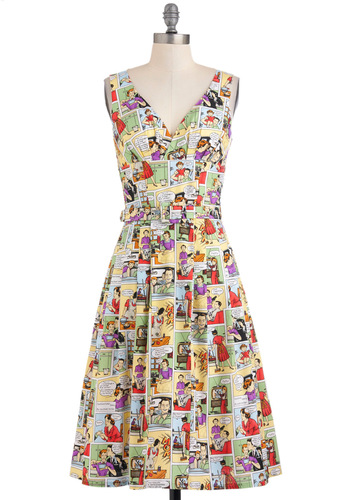 Bygone Days Dress in Sassy Comics - Multi, Novelty Print, Casual, Statement, Fit & Flare, Long, A-line, Strapless, Pleats, Vintage Inspired, Belted, Cotton, V Neck, Rockabilly, 50s, Top Rated