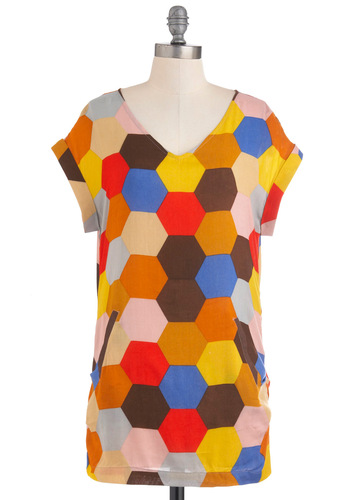 Mosaic Teacher Top - Multi, Red, Yellow, Blue, Pink, Brown, Exposed zipper, Short Sleeves, Long, Casual, Statement