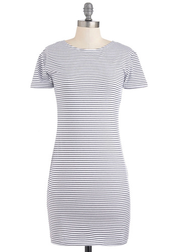 Why Nautical Dress in Black and White - Black, White, Stripes, Casual, Shift, Short Sleeves, Short, Nautical