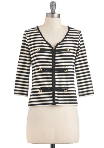 Yacht to be at Sea Cardigan - Black, White, Stripes, Buttons, Casual, Nautical, 3/4 Sleeve, Short, Fall, Cotton, V Neck