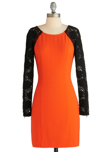 Sample 2072 - Orange, Black, Solid, Lace, Party, Sheath / Shift, Long Sleeve