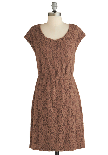 Sample 2065 - Brown, Lace, Party, A-line, Cap Sleeves, Lace