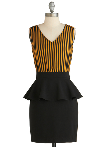 Sample 2067 - Black, Orange, Solid, Stripes, Sleeveless, Peplum