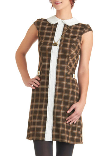 Illustrate for Me Dress - Brown, White, Plaid, Peter Pan Collar, Work, Sheath / Shift, Cap Sleeves, Fall, Tan / Cream, Vintage Inspired, 60s, Mid-length, Lace, Trim, Casual, Exclusives, Scholastic/Collegiate, Collared