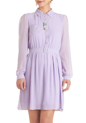 The Heart of It All Dress - Purple, Solid, Buttons, Pleats, Pockets, Shirt Dress, Long Sleeve, Belted, Vintage Inspired, 60s, Mid-length, Spring, Exclusives, Pastel, Holiday Sale, Button Down, Collared, Sheer, Summer