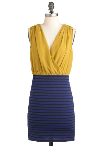 Haute and About Dress - Blue, Black, Stripes, Party, Sleeveless, Bodycon / Bandage, Short, Yellow, V Neck